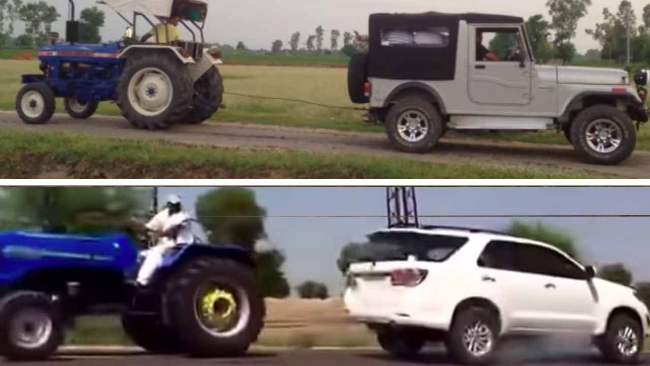 Tractor VS Toyota Fortuner VS Mahindra Thar VS Tata Xenon in Tug of War Matches