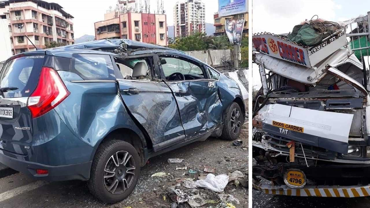 Mahindra Marazzo (4-star NCAP) Collides With Truck, Driver Safe
