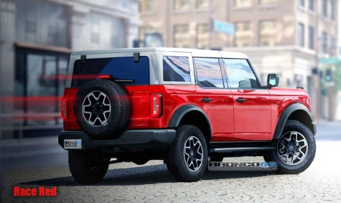 2021 ford bronco 4 door render rear angle