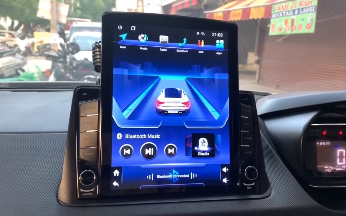 modified Tata Nexon infotainment touchscreen