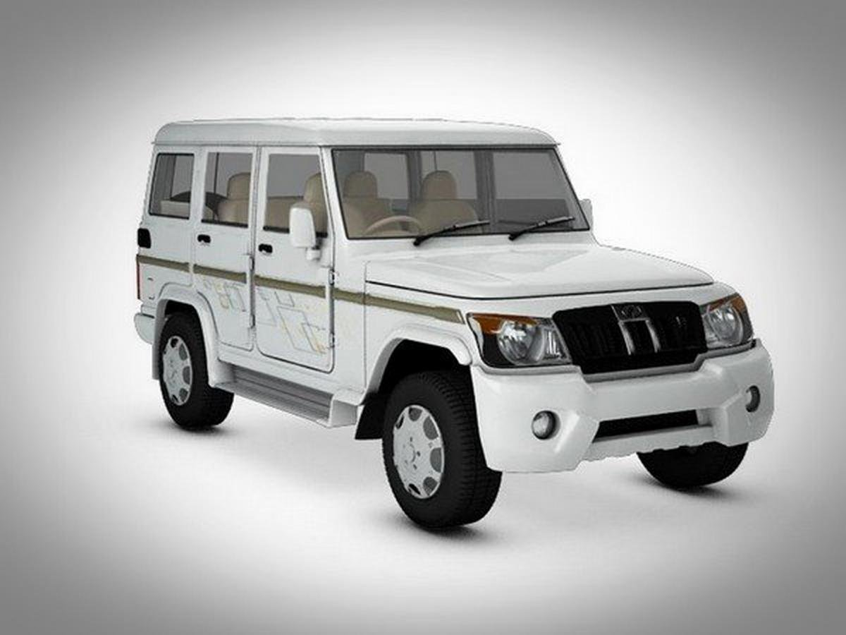 Mahindra Bolero white color side and front view