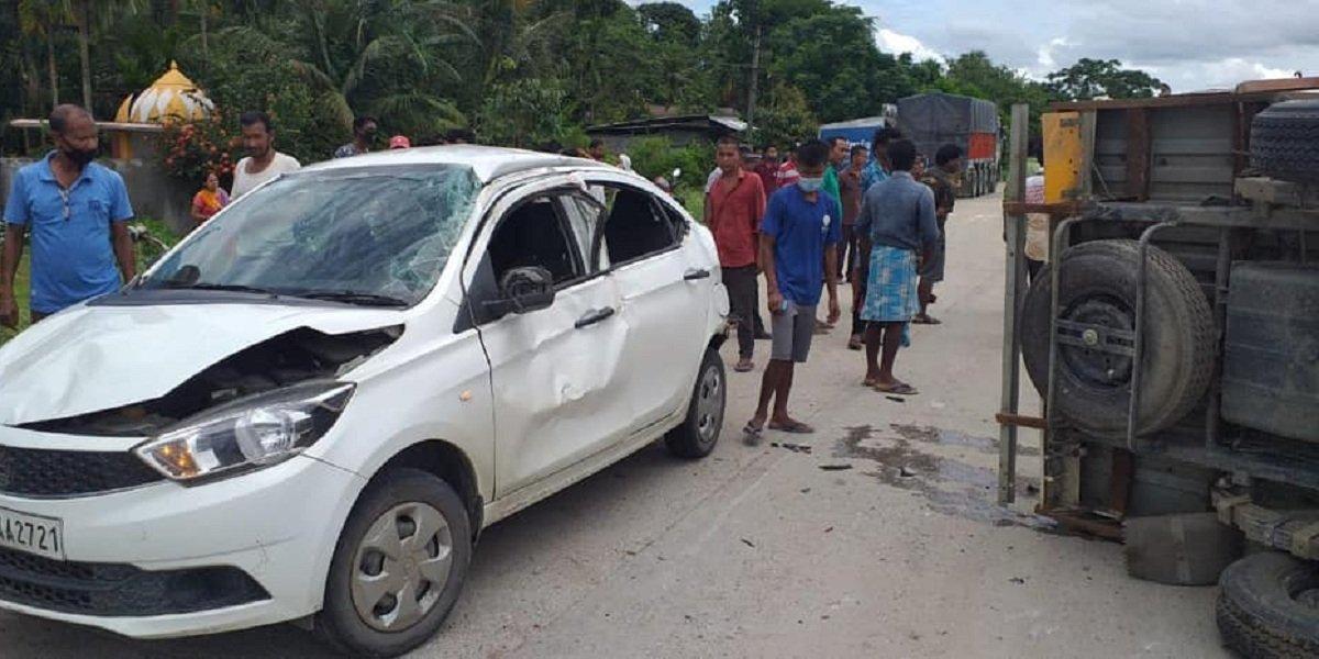 Tata Tigor accident with truck