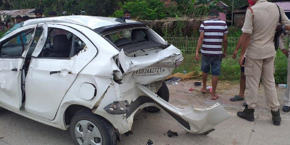 Tata Tigor rear-ended by a truck