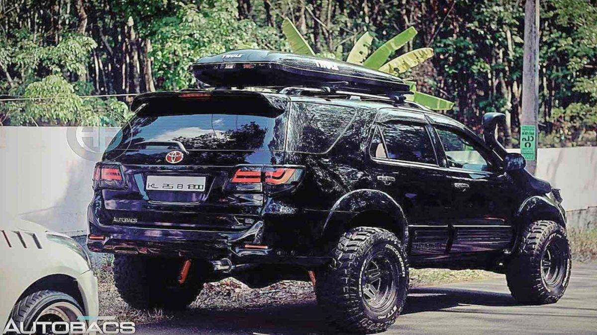 modified toyota fortuner rear three quarters