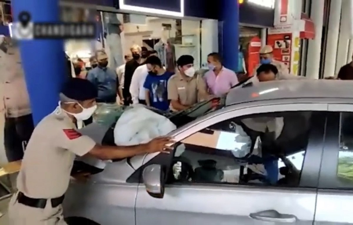Out-of-control Tata Tiago Crashes Into A Showroom in Chandigarh, All Safe