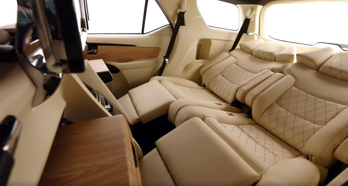 modified toyota fortuner cabin rear seats
