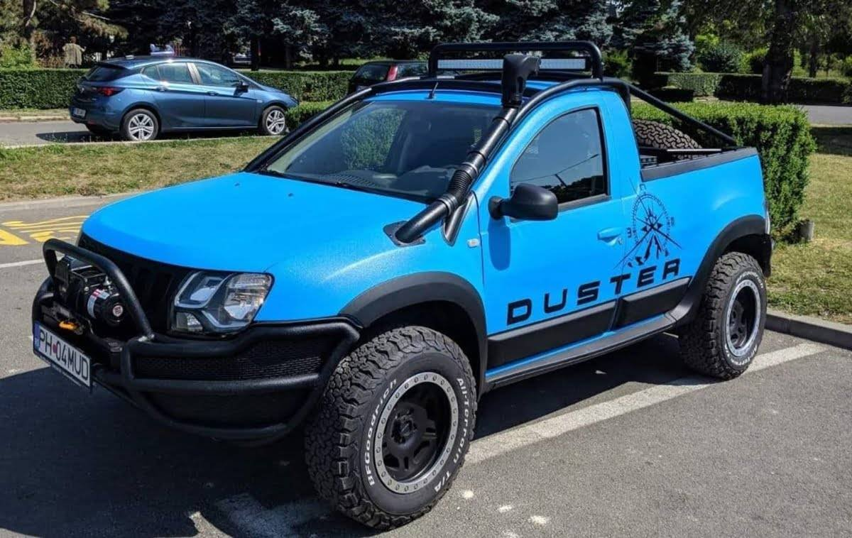 modified dacia duster pickup truck front three quarters