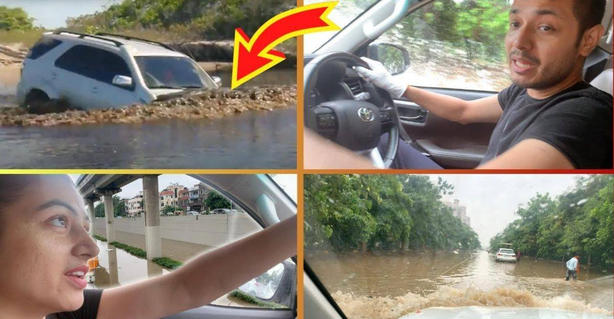 toyota fortuner drives through flooded road