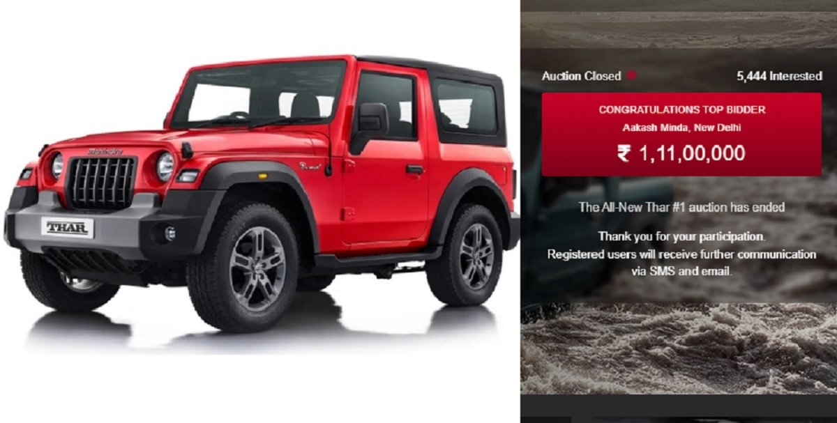 First Ever New Mahindra Thar Auctioned For Rs. 1.11 Crore