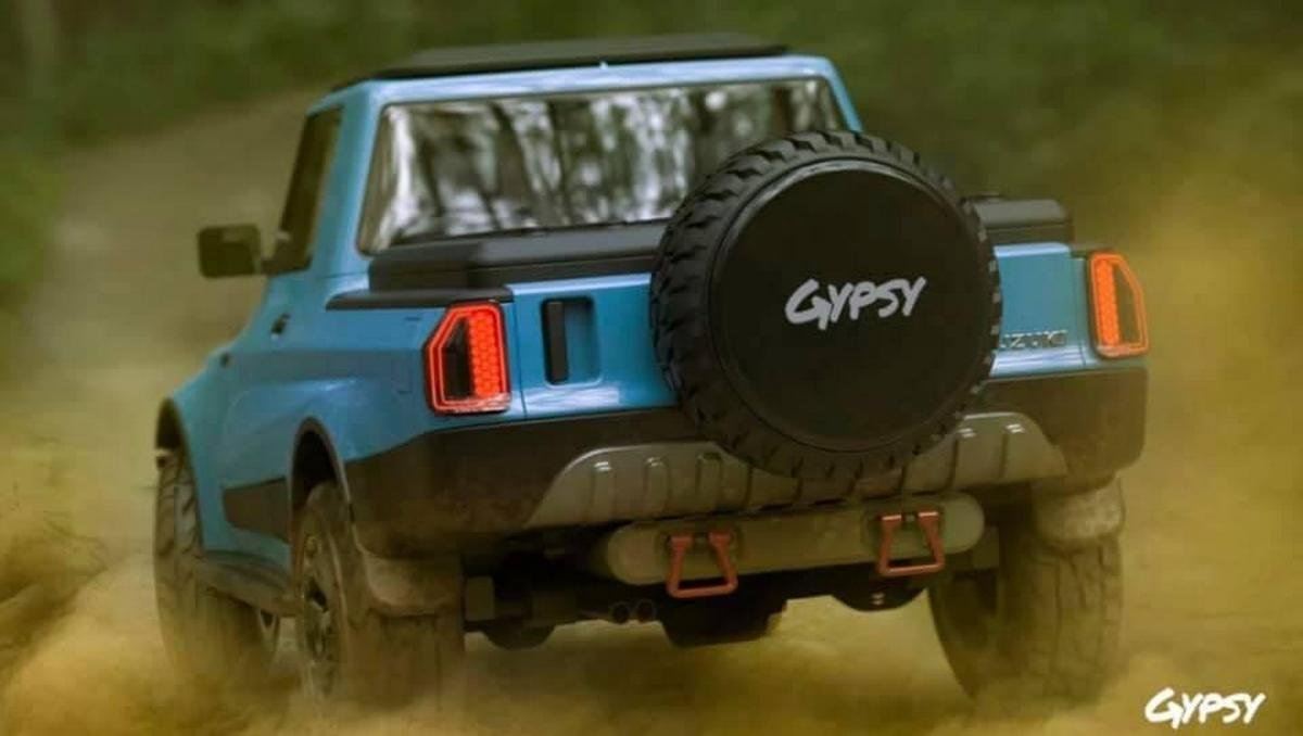 maruti gypsy pickup rendering rear angle