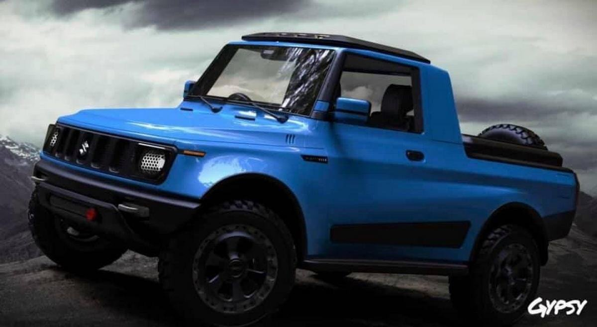 maruti gypsy pickup rendering front three quarters