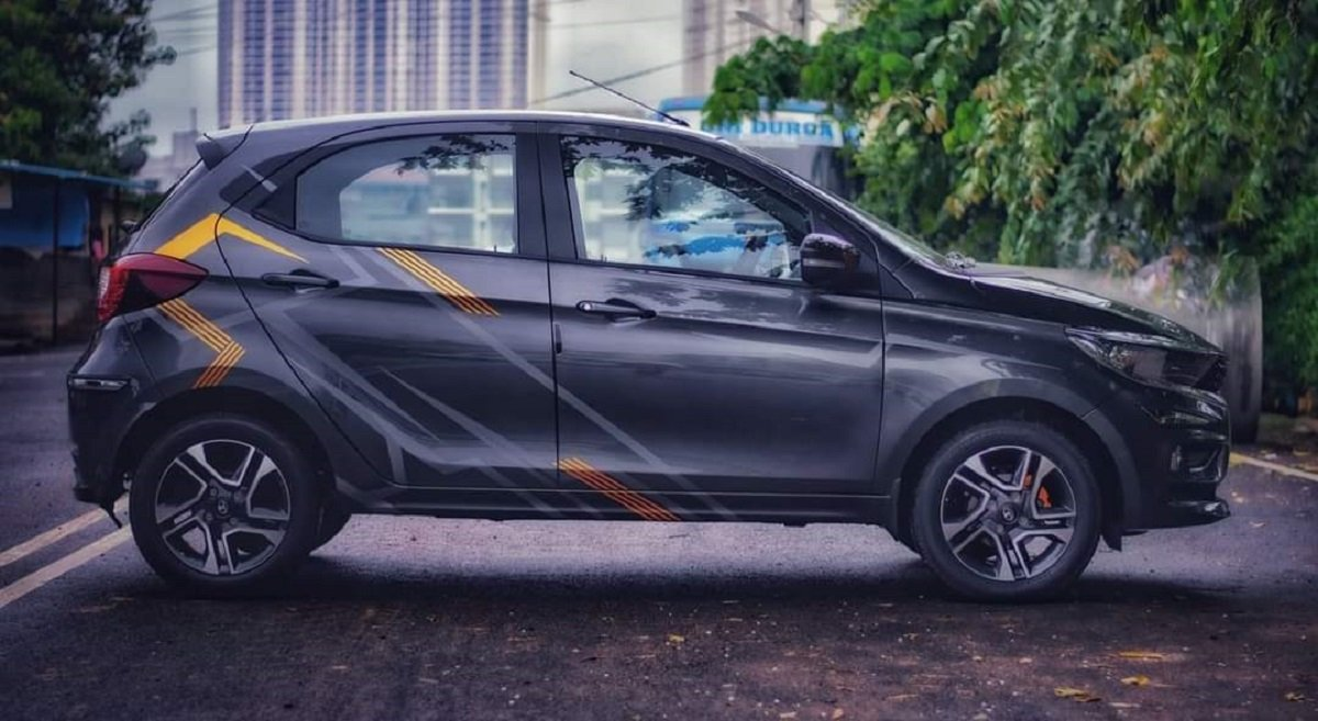 Modified Tata Tiago Gets Attractive Decals & Tangerine Brake Calipers