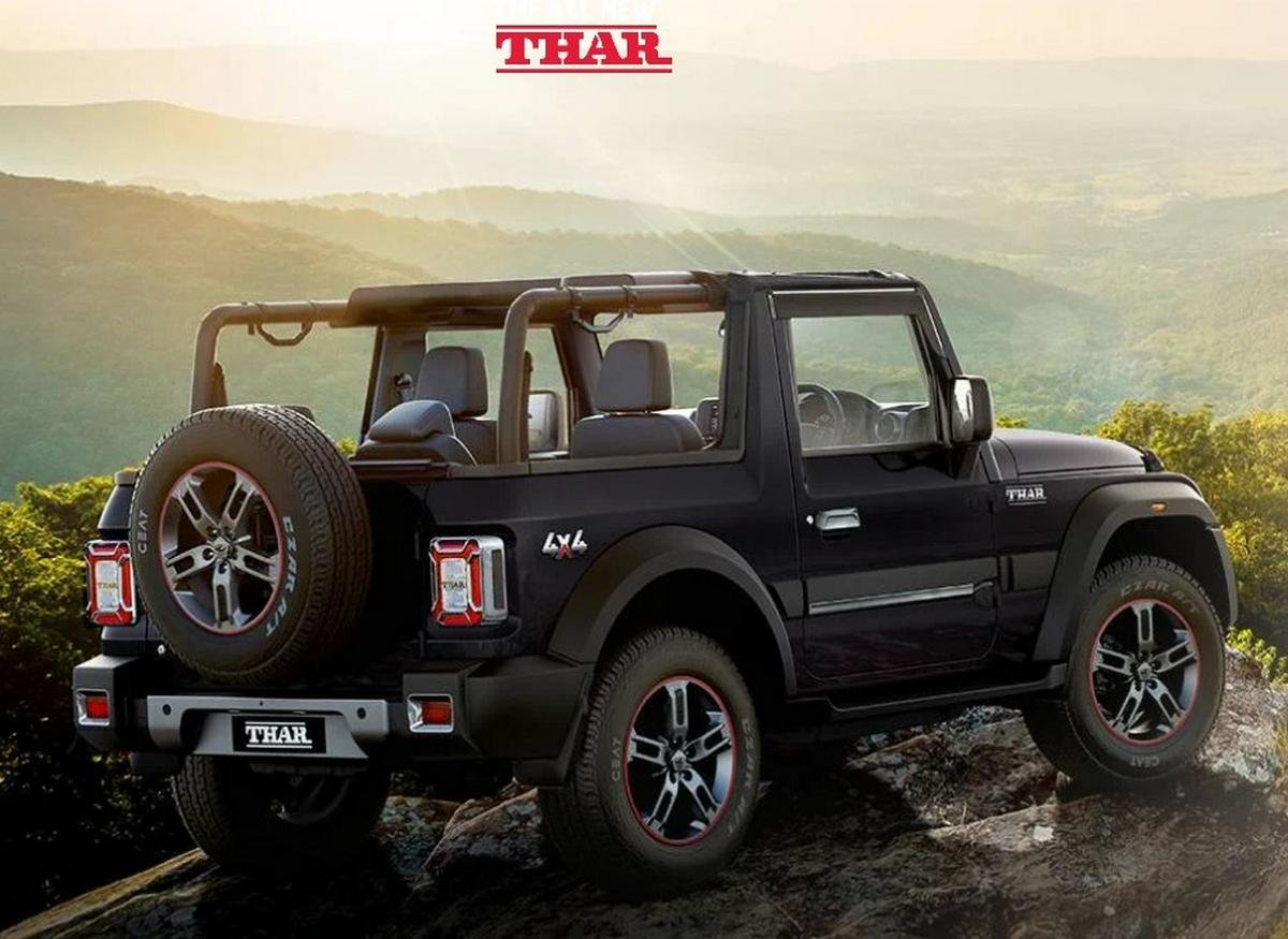 2020 mahindra thar rear three quarters
