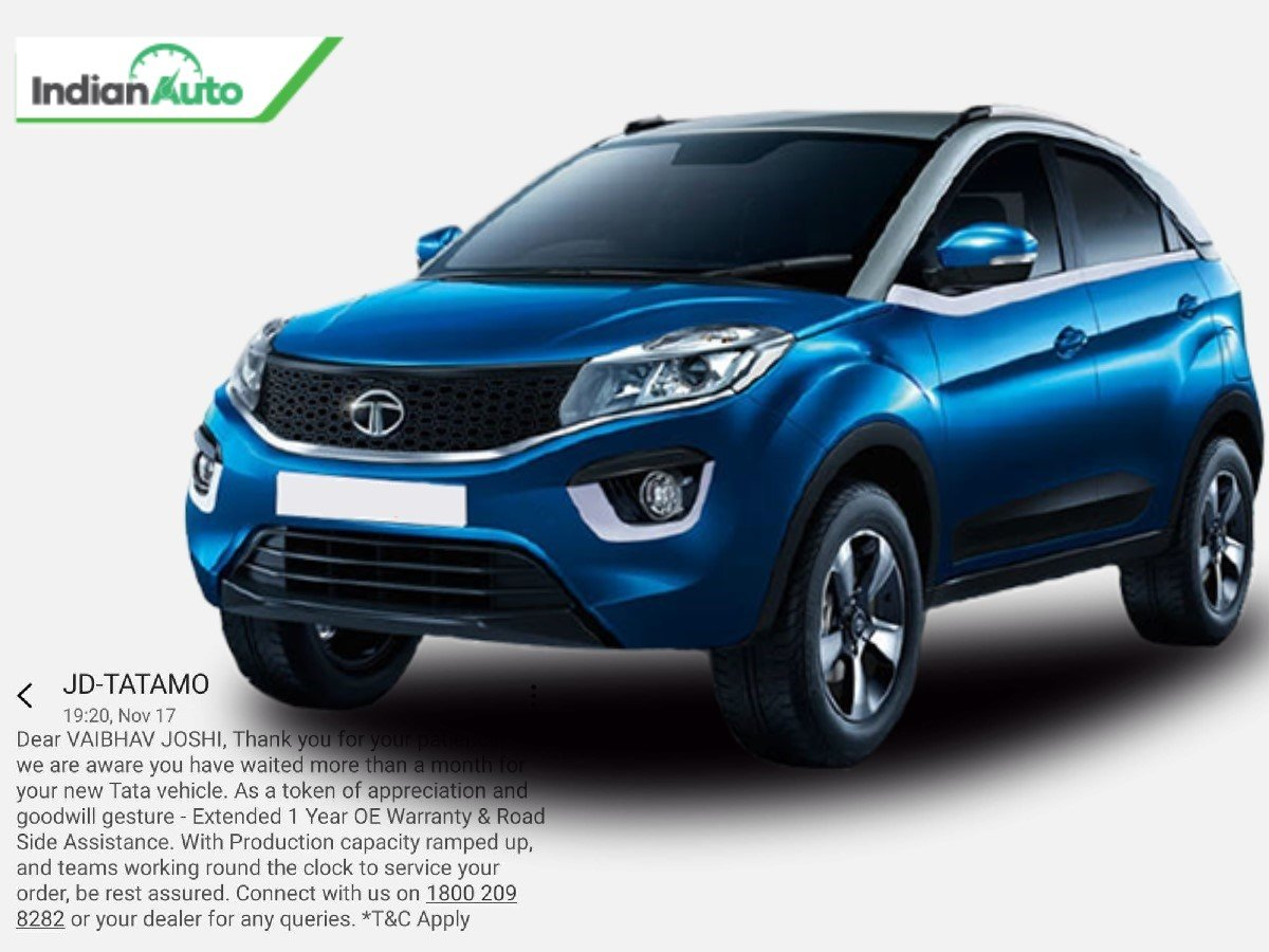 Tata Nexon Owner Offered With Extended Warranty & RSA as Delivery Delays