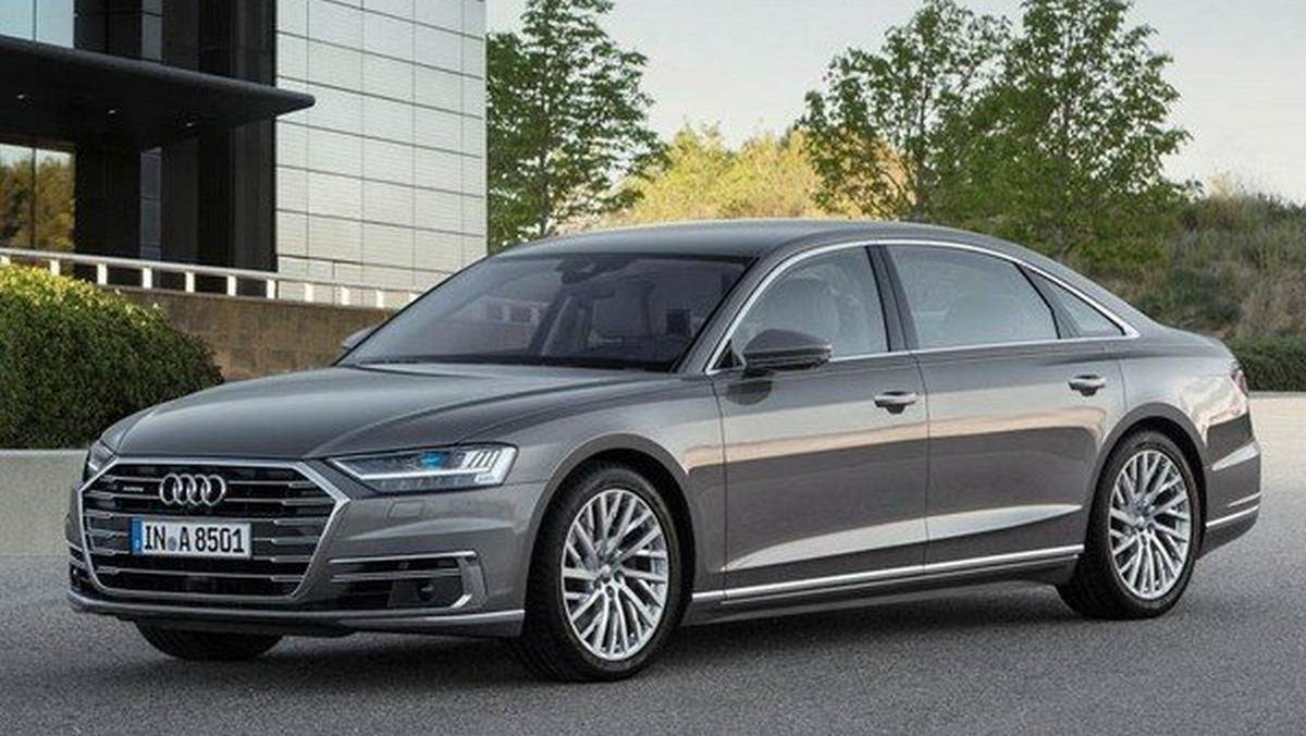 2020 audi a8 l grey front angle