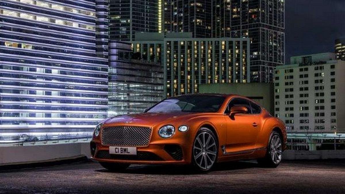 bentley continental gt orange front angle