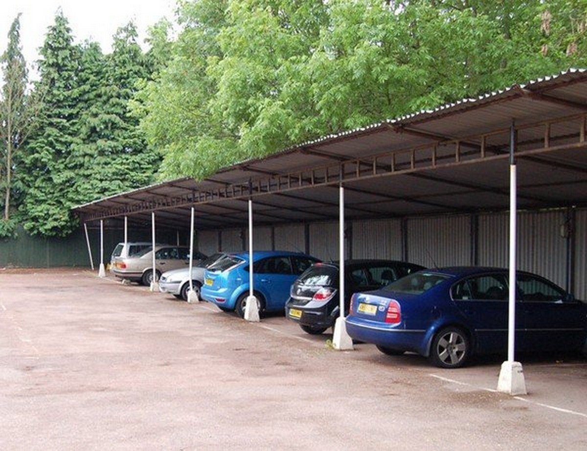 cars parked under the roof