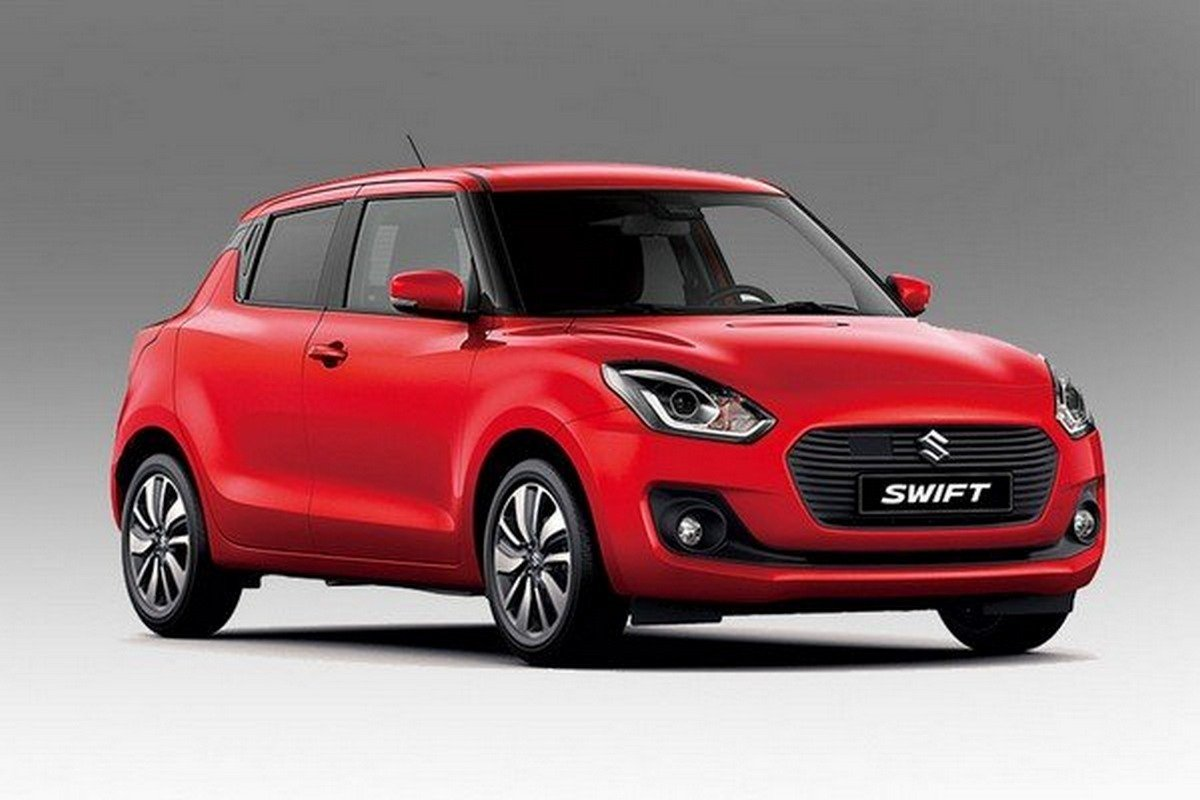 The Swift red color parking from left to right