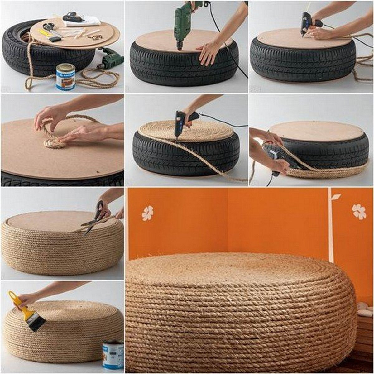 Reuse old tyre table chair