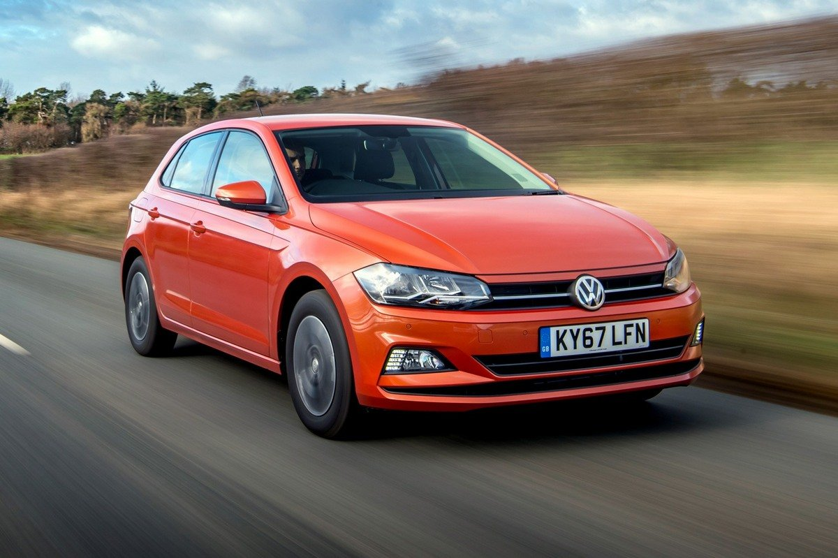 orange volkswagen polo 2018 front-side view