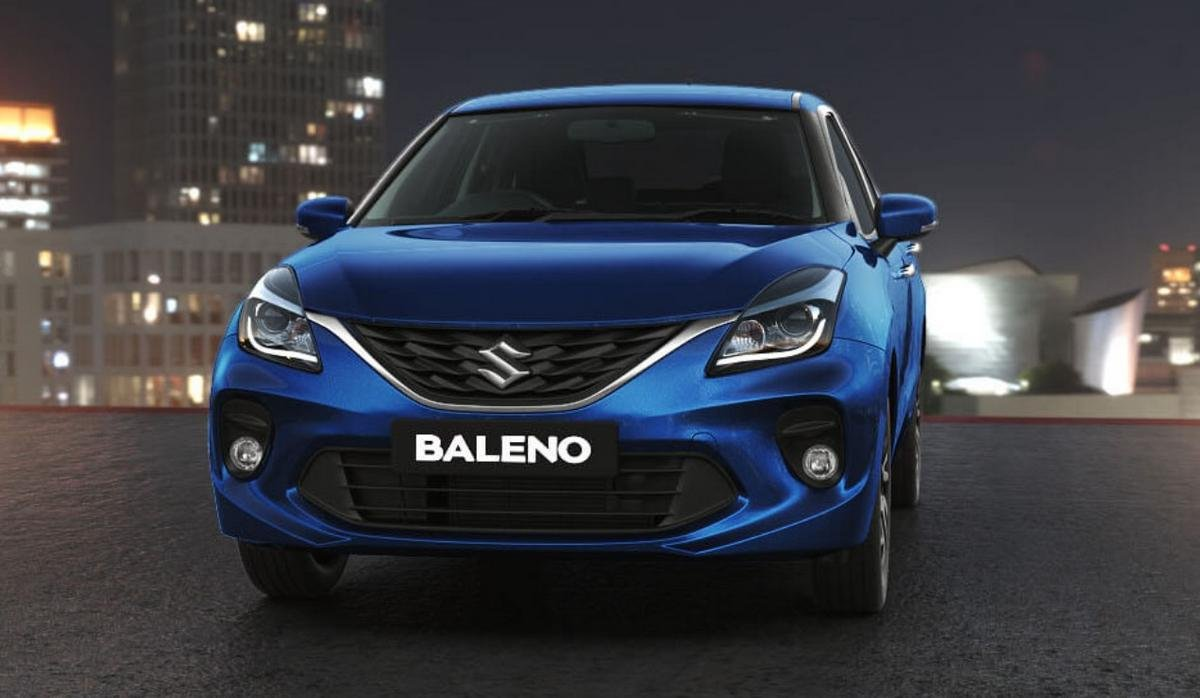 5 seater cars in india maruti baleno blue front angle