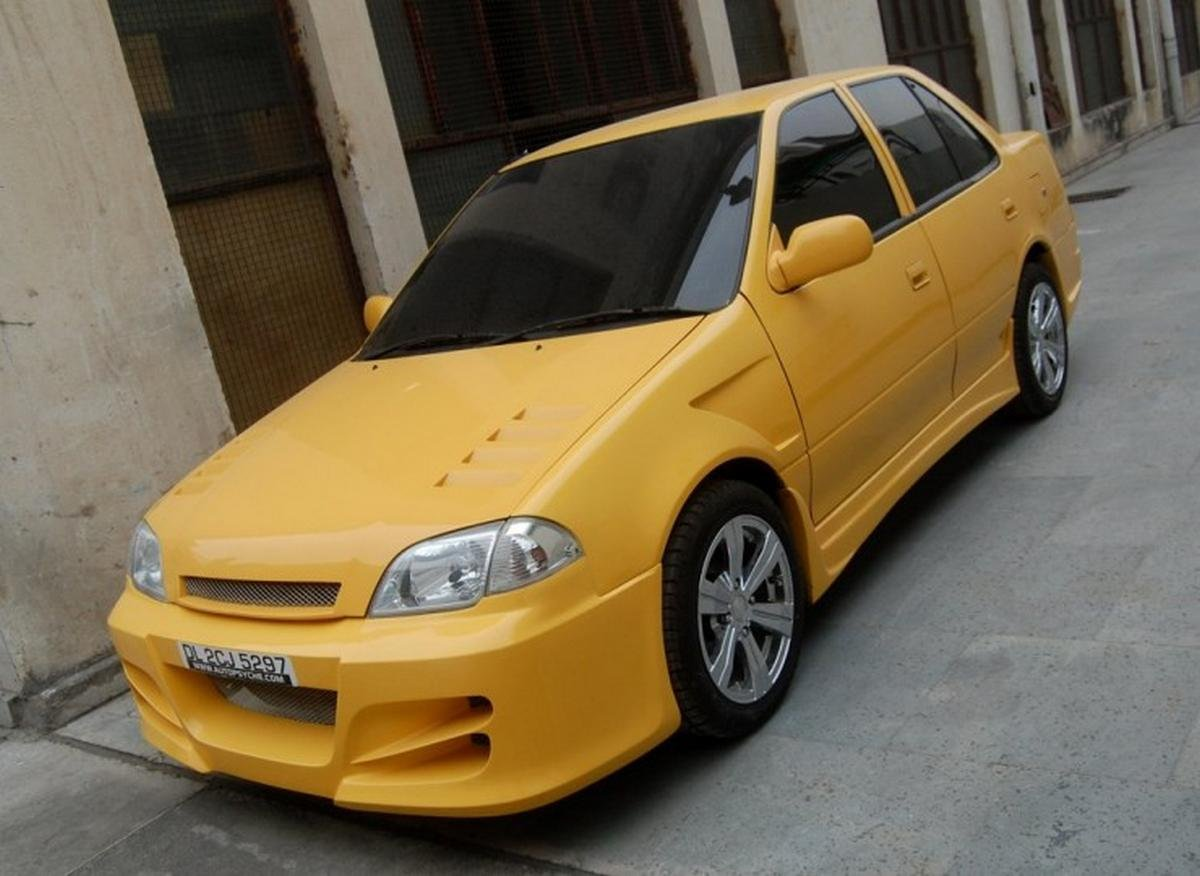 modified maruti esteem yellow colour front view