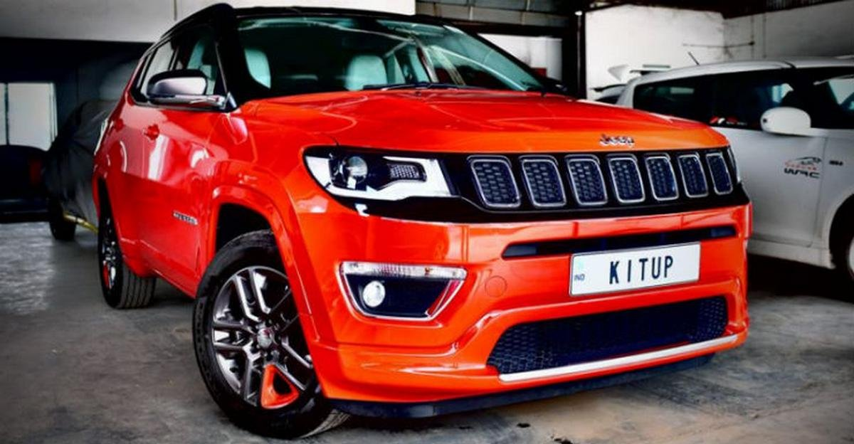 customised jeep compass kit up red colour front angle
