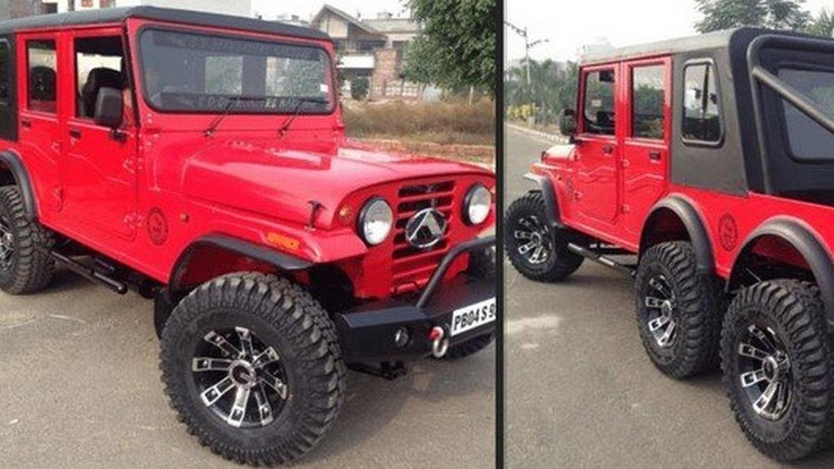 Mahindra Thar 6x6 red left and right view