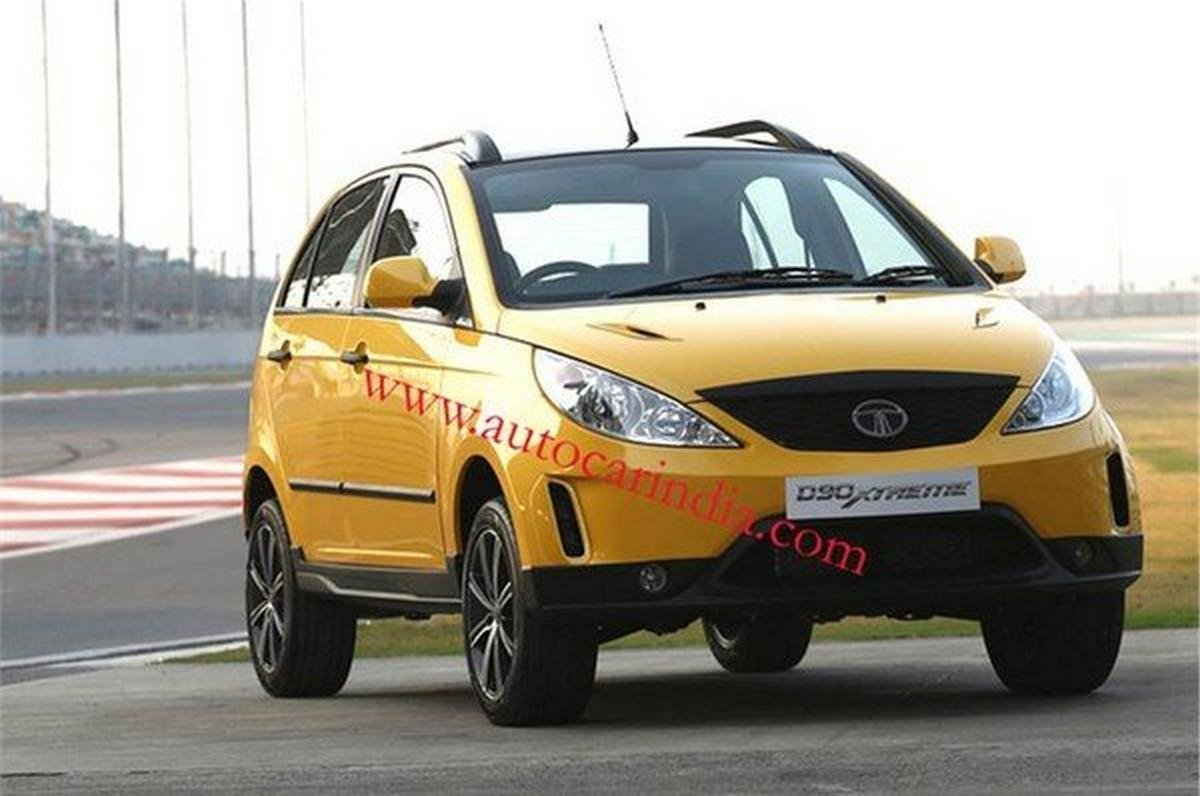 tata vistan d90 xtreme concept yellow front angle