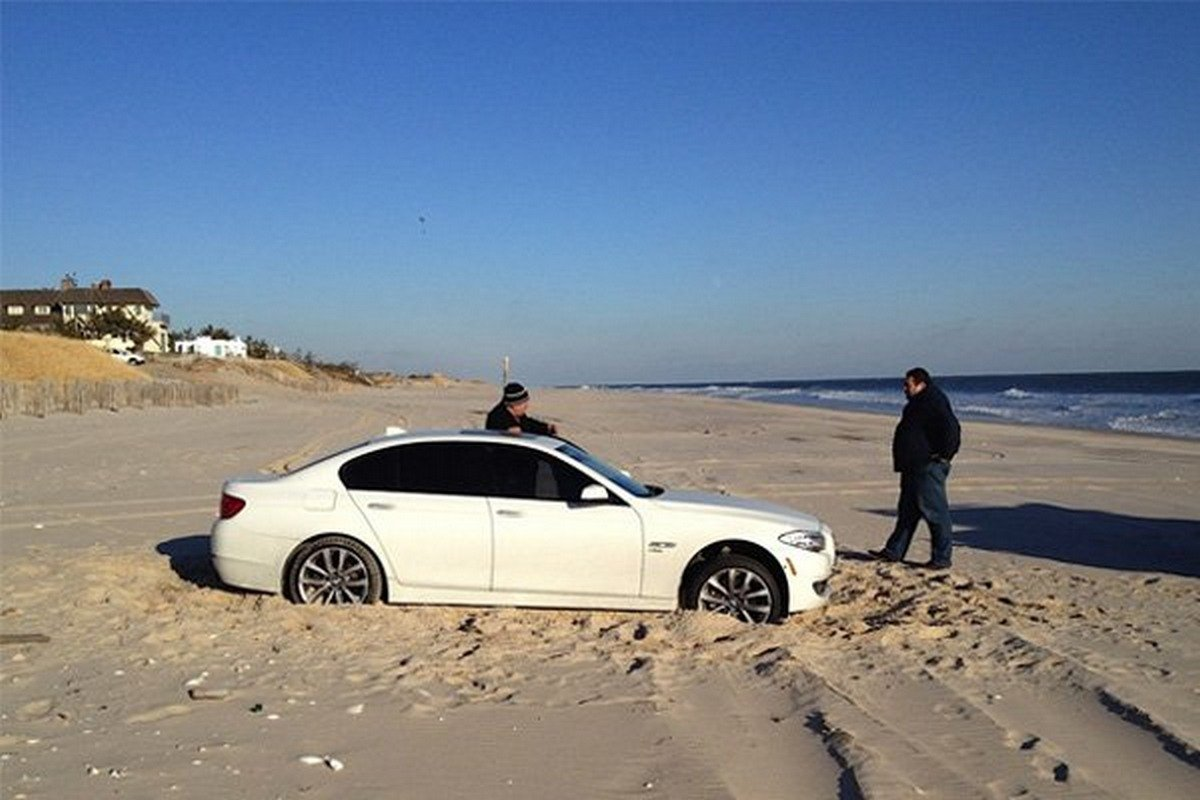 a car stuck in sand