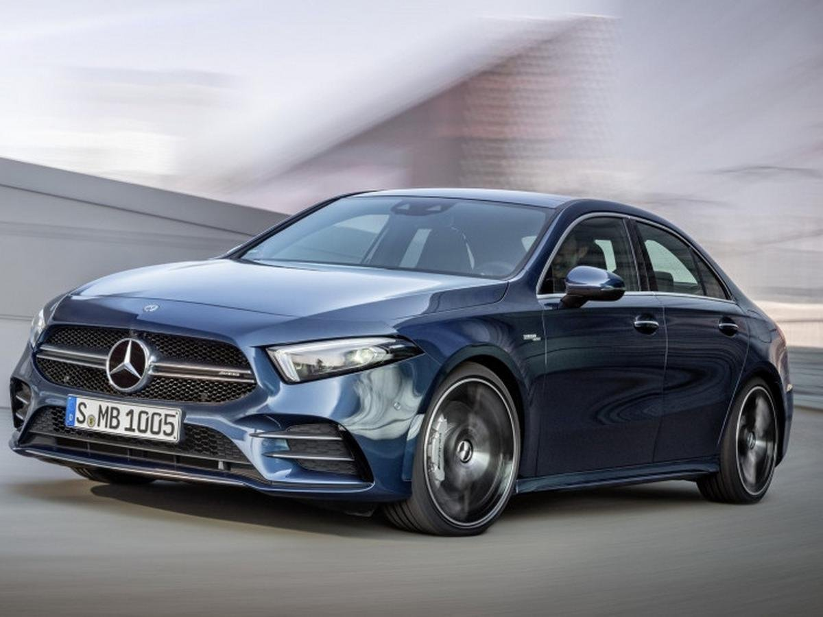 upcoming mercedes cars in India 2020- mercedes amg a35 sedan blue front angle