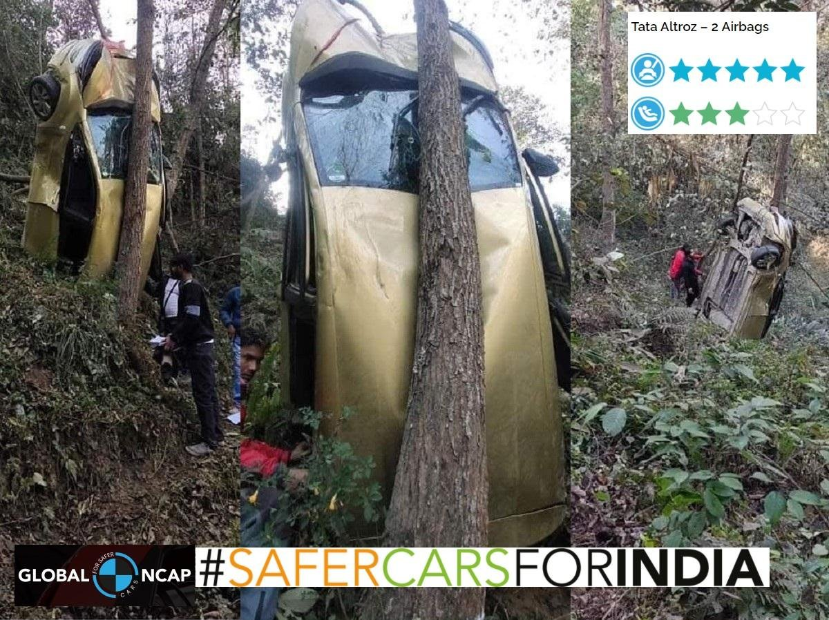 Tata Altroz Falls into Deep Ravine, Lands in Critical Manner, All Safe