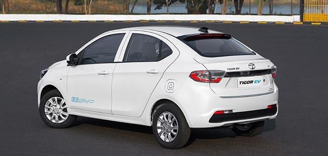2021 Tata Tigor EV rear three quarters
