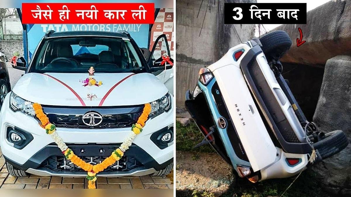 Tata Nexon EV Fell Off the Bridge after Being Hit by Truck, Driver Safe