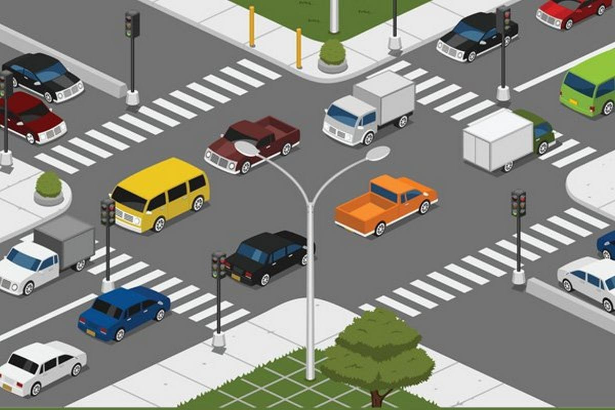cars in an intersection