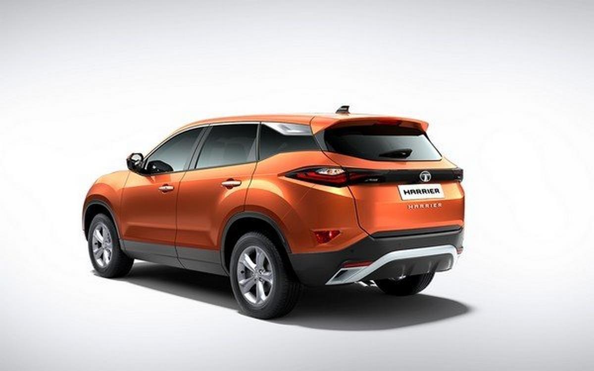 tata harrier, rear view, orange