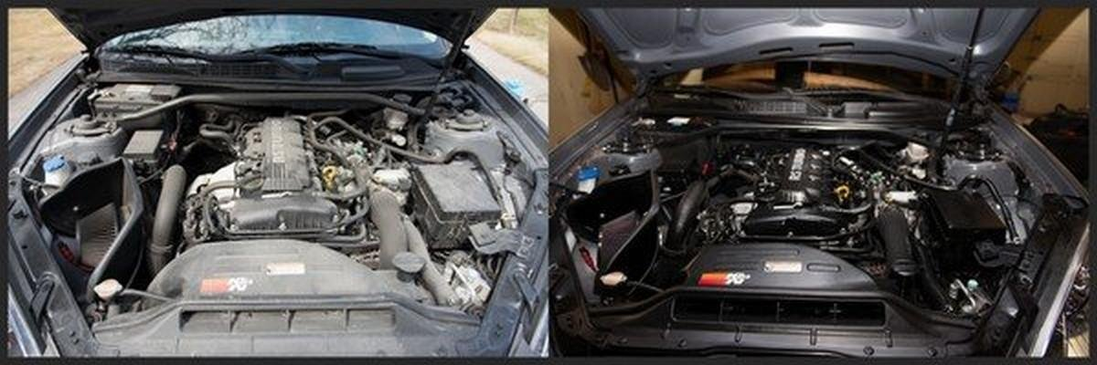 engine bay before and after