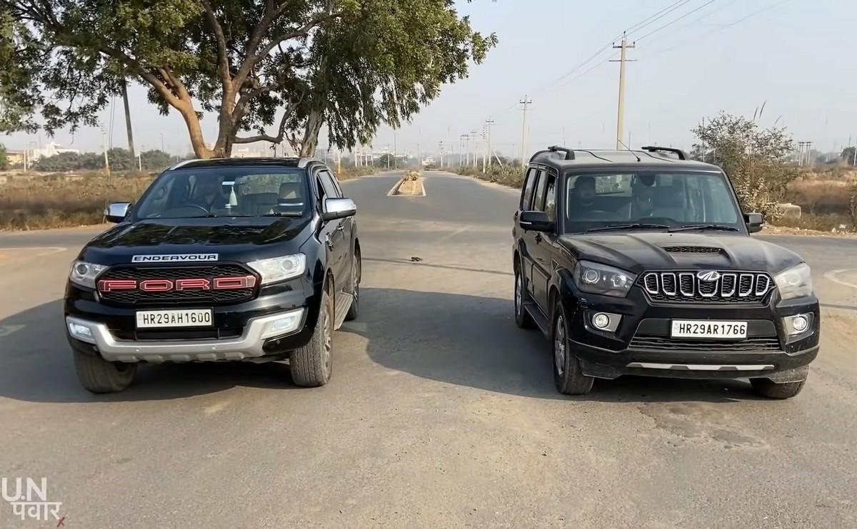 ford-endeavour-vs-mahindra-scorpio drag race