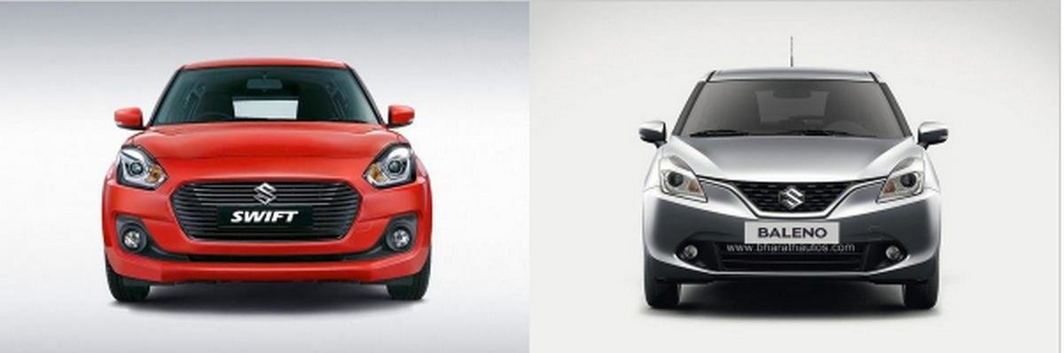 Maruti Swift vs Maruti Baleno front side