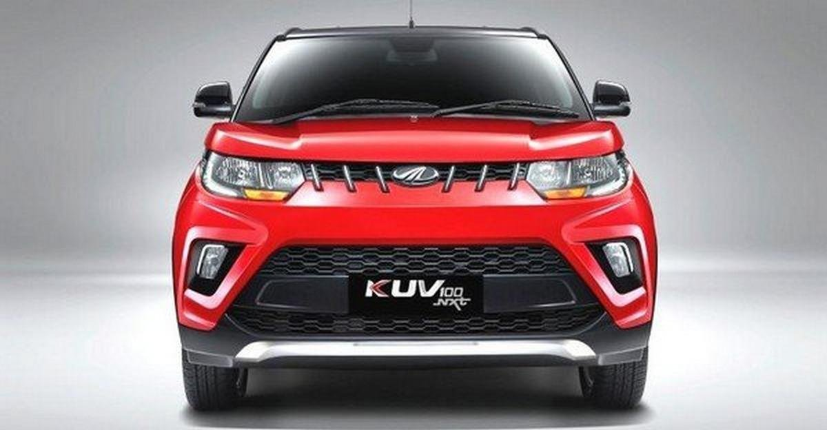 KUV100 red color direct front look