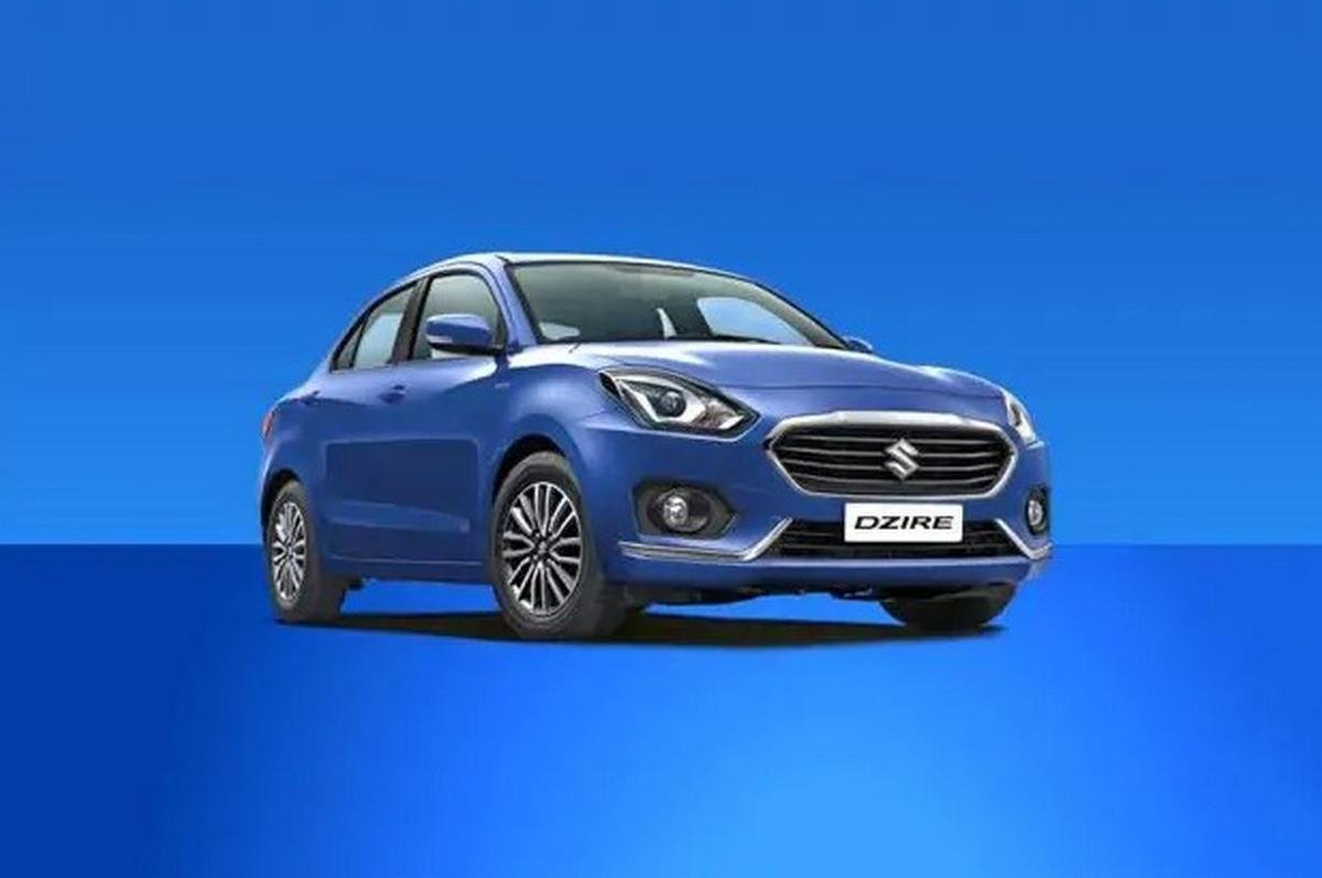 Blue maruti suzuki dzire front side view