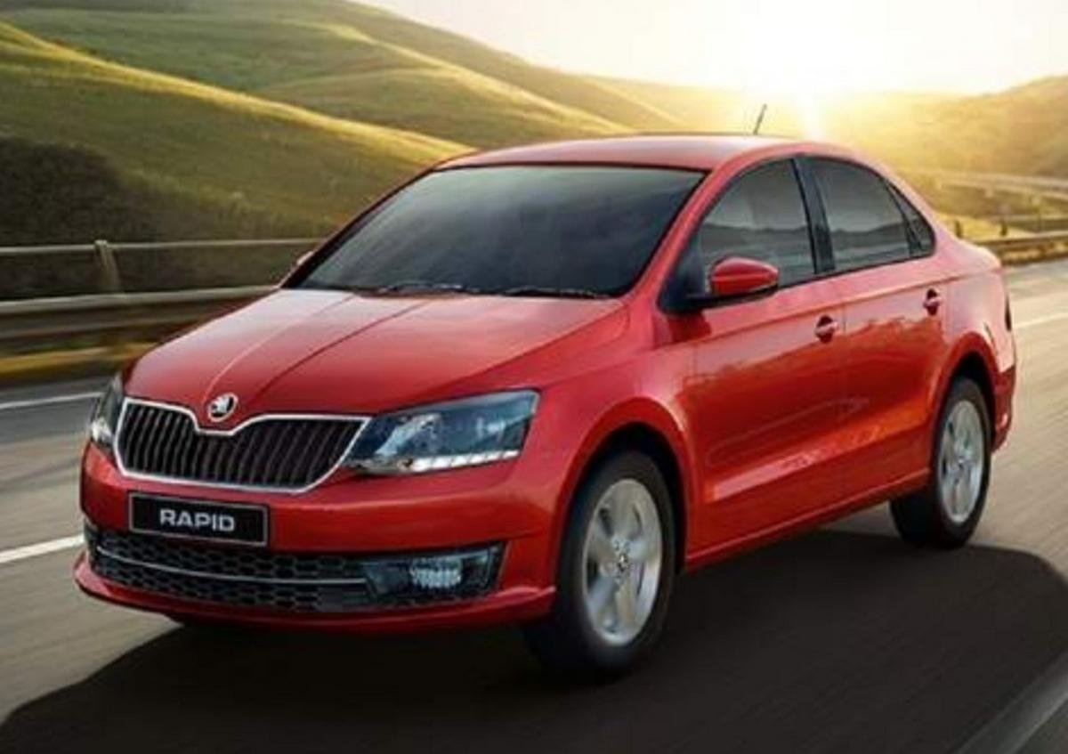 Red Skoda Rapid front-side view