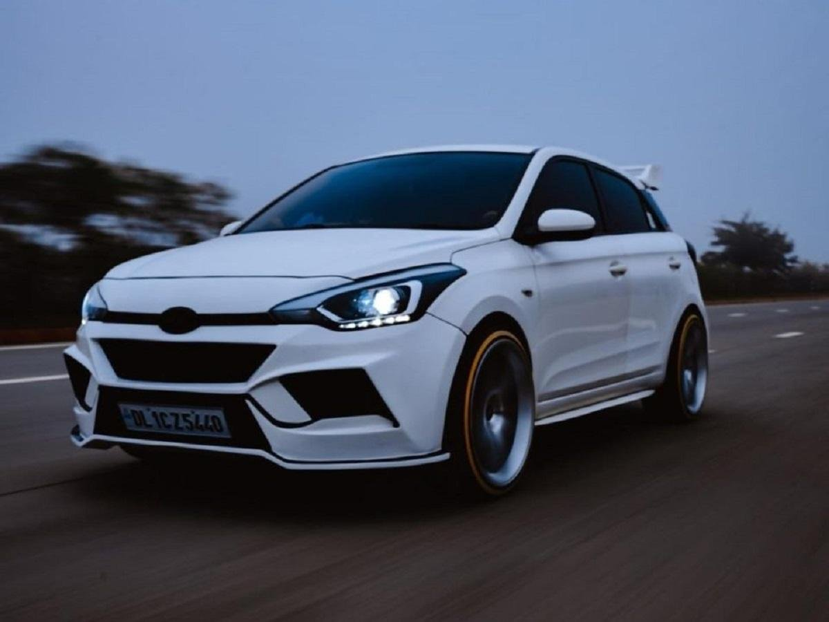 Check Out This Modified Hyundai Elite i20 With A Full Body Kit And 20-Inch Rims