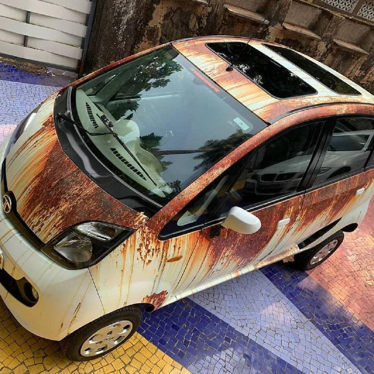 Check Out This Tata Nano With Dual Sunroofs And Interesting Wrap Job