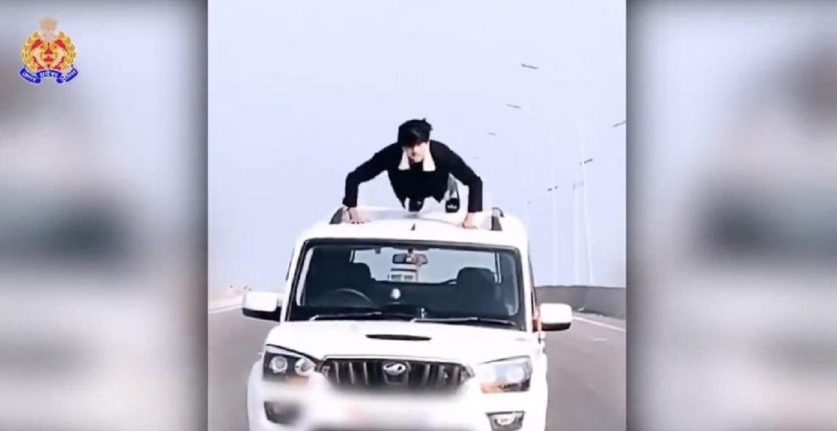 Driver Climbs Up On Mahindra Scorpio's Roof To Do Push-Ups, Arrested By UP Police
