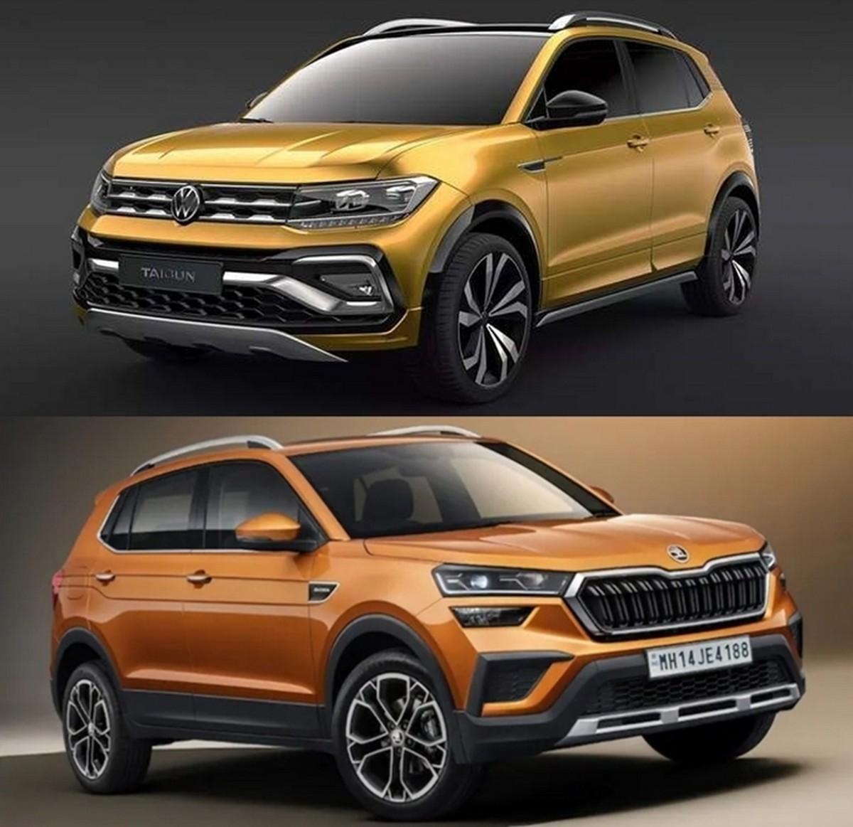 Front-side-look-of-Skoda-Kushaq-and-VW-Taigun