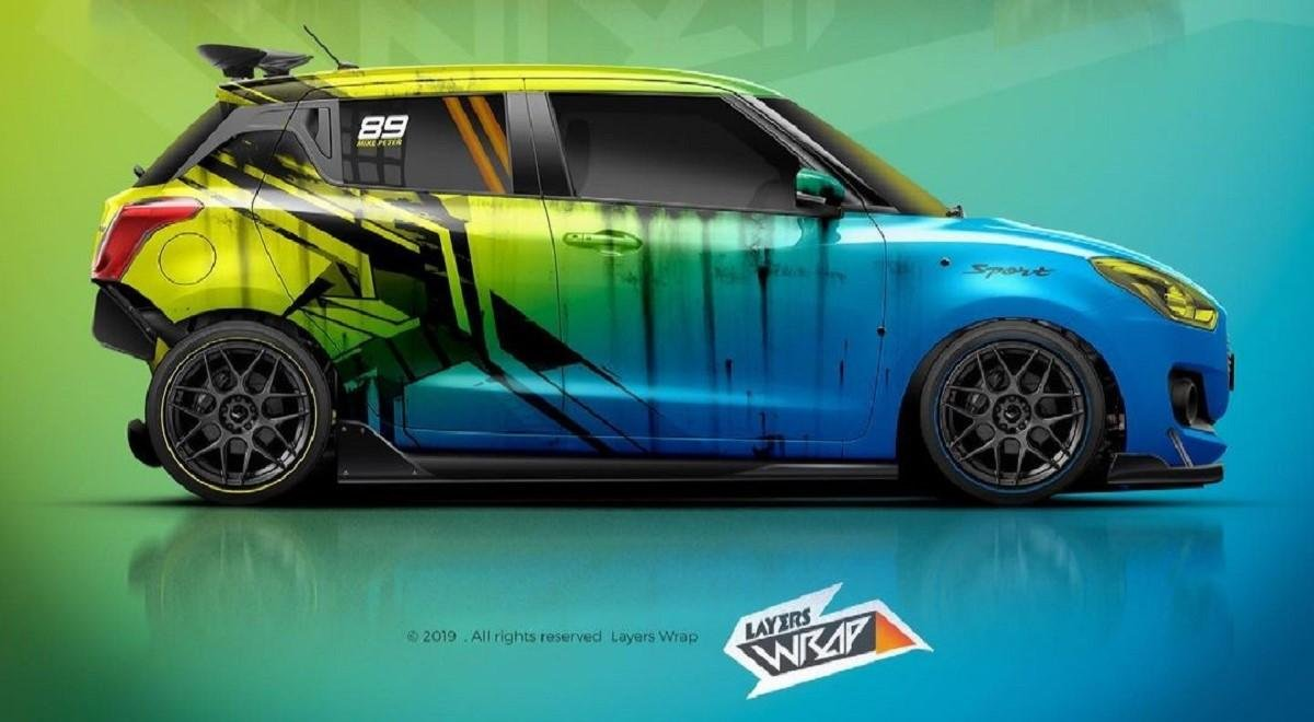 Check Out This Maruti Swift Render With Lurid Dual-Tone Wrap