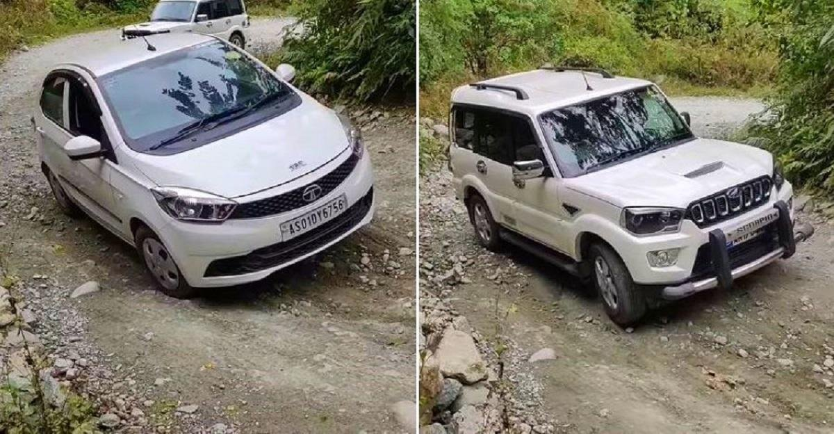 Mahindra Scorpio Struggles To Climb Uphill In Tricky Road Conditions, Tata Tiago Flies Through - VIDEO