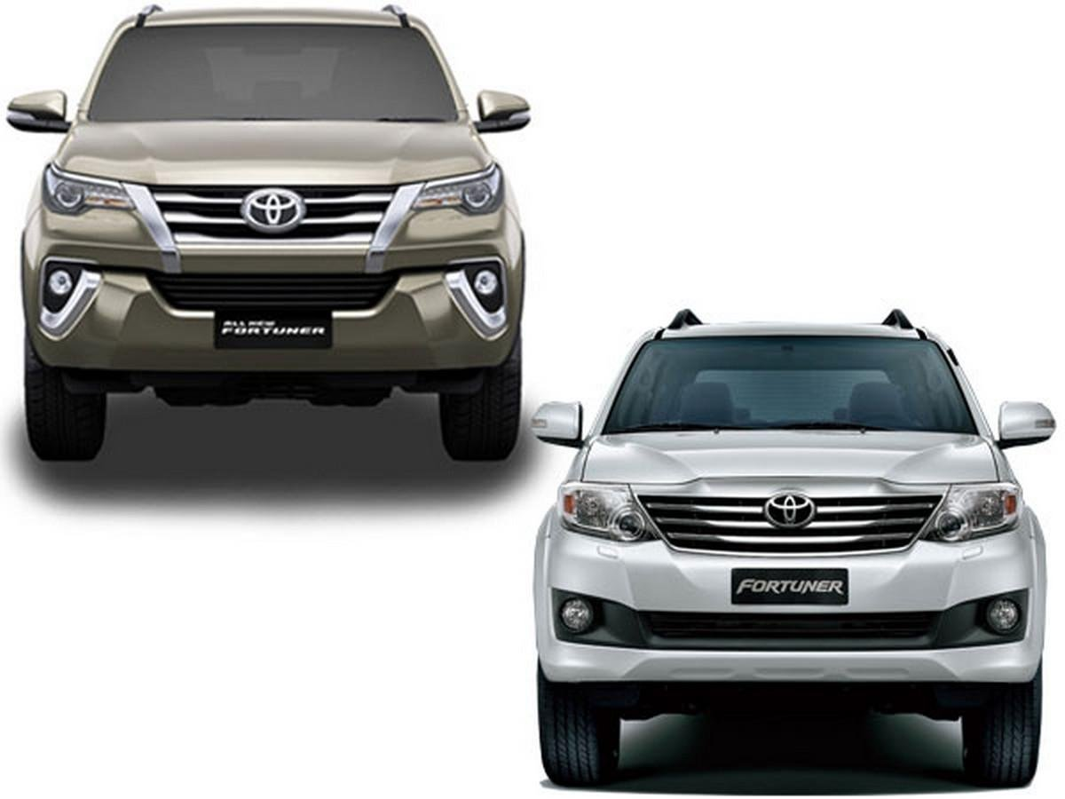toyota fortuner front face old vs new