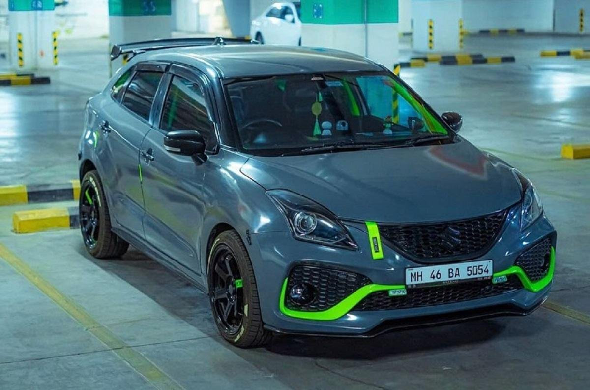 This Maruti Baleno Gets A Fetching Grey And Fluorescent Green Paint Job